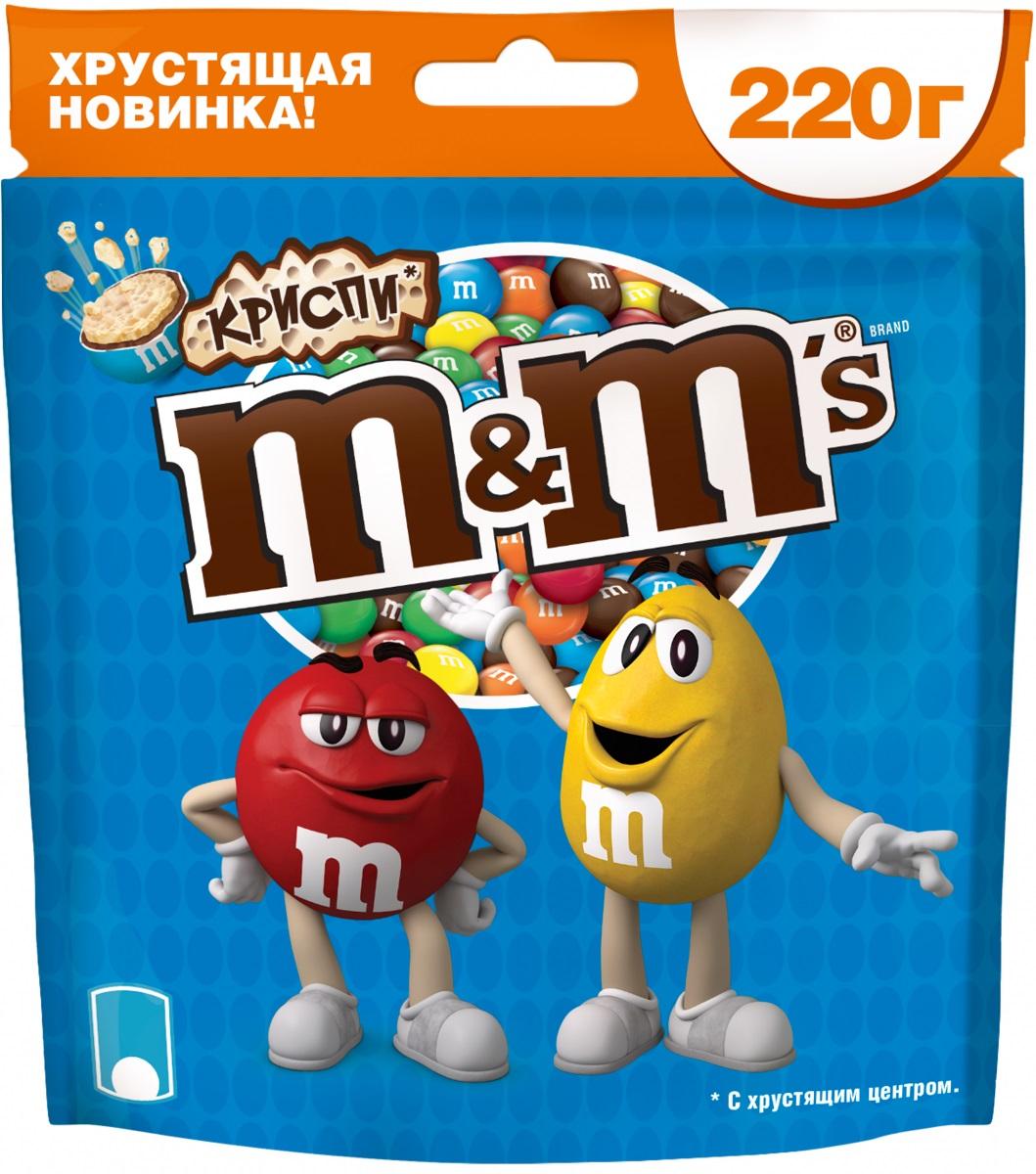 M&Ms Криспи драже с хрустящим центром, 220 г79003117Шоколадное драже M&Ms Криспи с хрустящим центром, покрытое молочным шоколадом.
