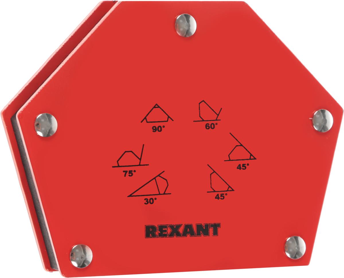 Угольник магнитный Rexant, усилие 22,6 кг12-4832Магнитный угольник Rexant предназначен для фиксации металлических деталей при сварке, пайке и сборке конструкций. Применяется для работы с круглыми и прямоугольными трубами, полосами, уголками, профилями, листовым, сплошным и другими видами металла. Угольник быстро и надежно соединяет детали, сокращает время работы, облегчает монтаж и заменяет громоздкие зажимы и неудобные струбцины. Углы: 30°, 45°, 60°, 75°, 90°, 135°.Максимальное усилие: 22,6 кг.