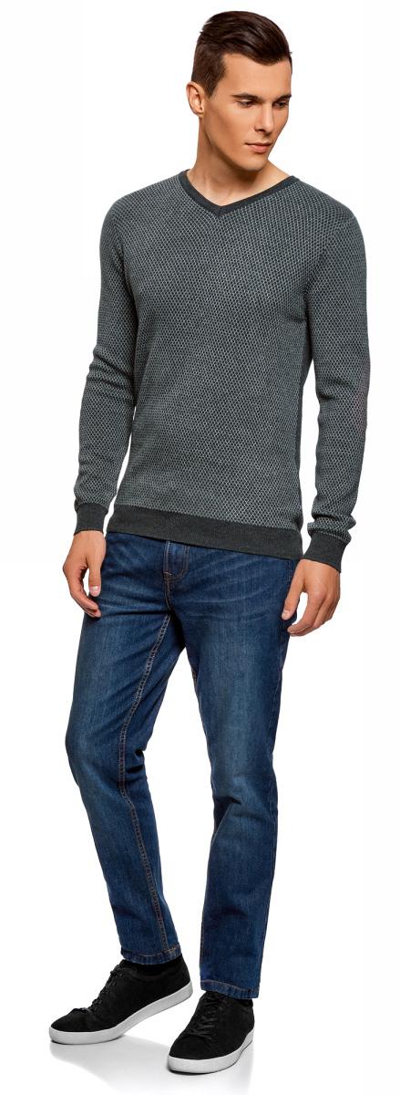 Пуловер мужской oodji Lab, цвет: серый, темно-серый. 4L212154M/21702N/2325G. Размер XL (56)4L212154M/21702N/2325GВязаный пуловер от oodji с контрастно отделкой выполнен из натурального хлопка. Модель с длинными рукавами и V- образным вырезом горловины.