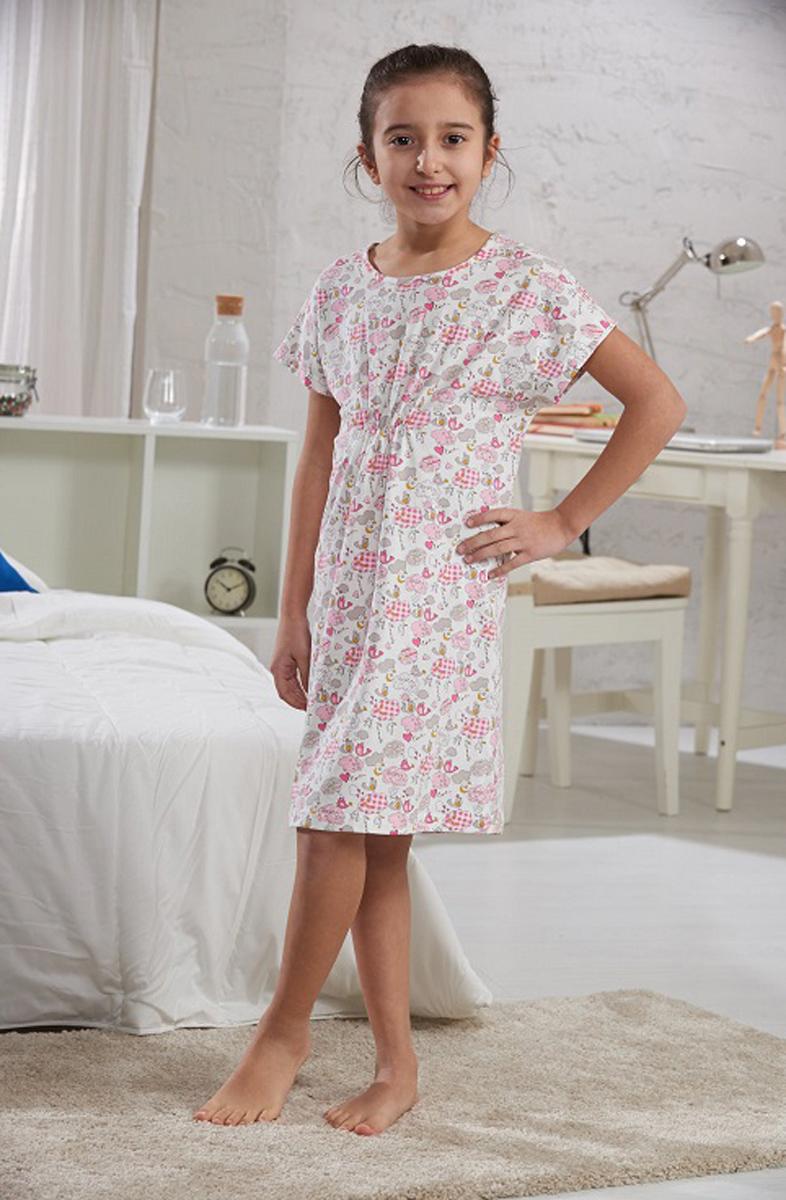 Платье домашнее для девочки Sevim, цвет: розовый. 7323 SV. Размер 3 (92/104)7323 SVДомашнее платье Sevim выполнено из мягкого эластичного хлопка. Модель свободного кроя с короткими цельнокроеными рукавами и круглым вырезом горловины имеет небольшую сборку под грудью, создающую красивые складки. Платье интересно смотрится, идеально сидит, дарит легкость, свободу движениям и оптимальный комфорт в процессе носки.