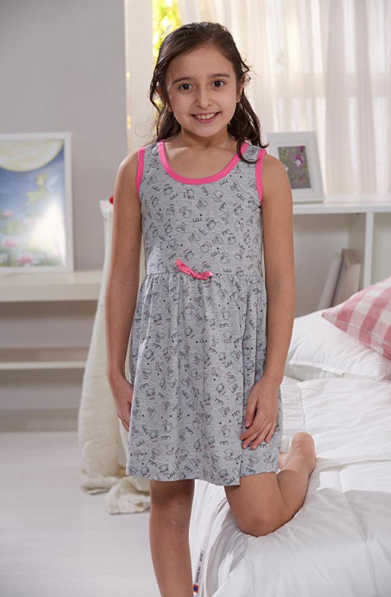 Платье домашнее для девочки Sevim, цвет: серый, розовый. 7332 SV. Размер 5 (106/116 см)7332 SVДомашнее платье Sevim выполнено из мягкого эластичного хлопка. Модель приталенного силуэта с круглым вырезом горловины и без рукавов. Изделие с отрезной линией талии, оформлено принтом и миниатюрным бантиком. Платье красиво смотрится, идеально сидит, дарит легкость, свободу движениям и оптимальный комфорт в процессе носки.