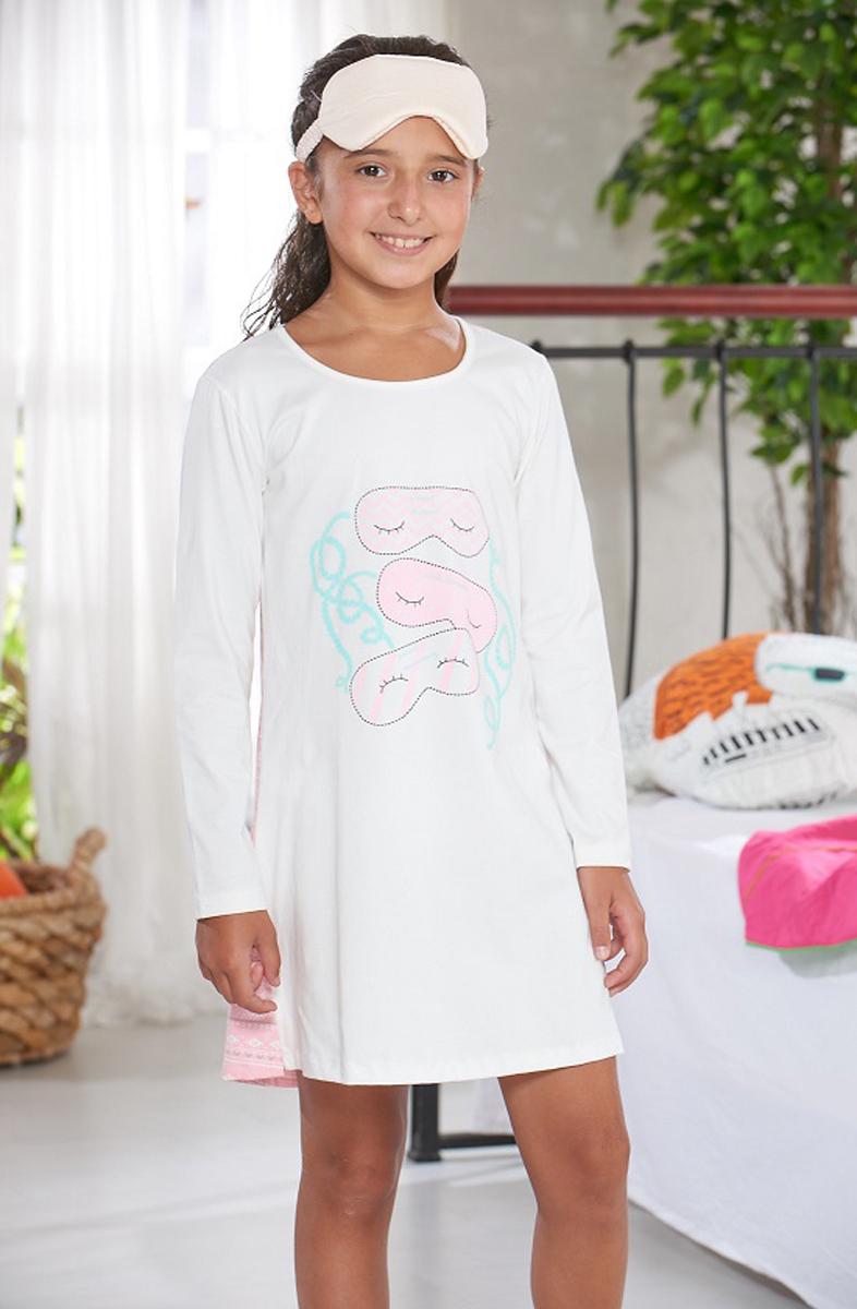 Платье домашнее для девочки Sevim, цвет: кремовый, розовый. 7428 SV. Размер 1 (86/92)7428 SVДомашнее платье Sevim выполнено из мягкого эластичного хлопка. Модель свободного кроя с длинными рукавами и круглым вырезом горловины спереди оформлена забавным принтом. Спинка выполнена из трикотажа контрастного цвета с орнаментом. Платье красиво смотрится, идеально сидит, дарит легкость, свободу движениям и оптимальный комфорт в процессе носки.