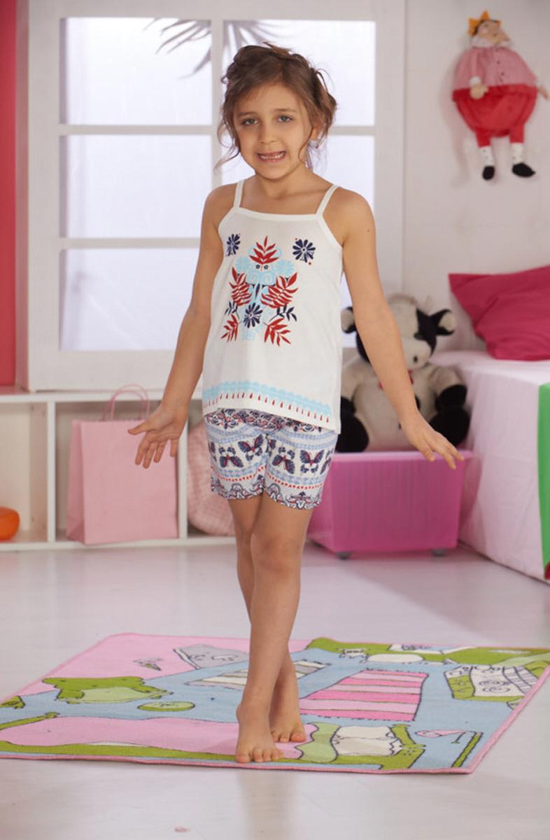 Домашний комплект для девочки Sevim: топ, шорты, цвет: молочный, голубой. 7502 SV. Размер 11 (152)7502 SVУютный домашний комплект для девочки Sevim, состоящий из топа и шорт, выполнен из хлопка с модалом. Топ на тонких бретельках спереди оформлен контрастным принтом. Шорты прямого кроя имеют эластичный пояс на талии и декорированы нежным орнаментом.