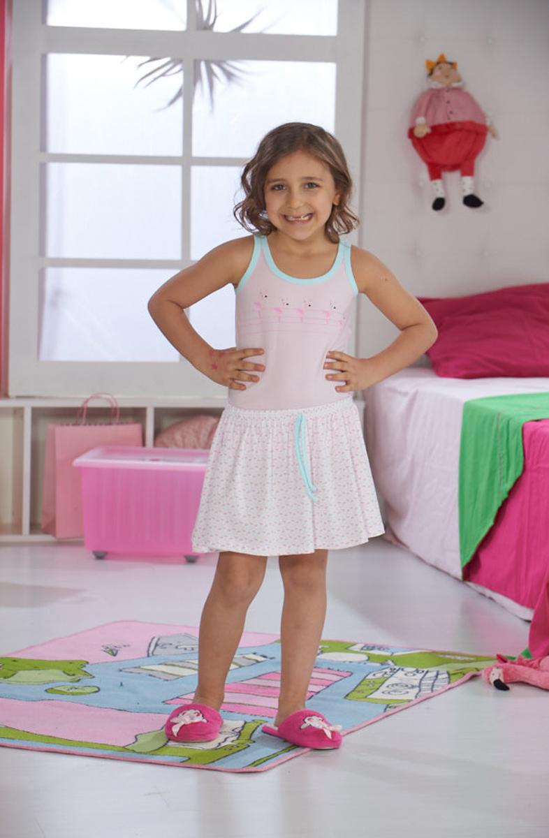 Платье домашнее для девочки Sevim, цвет: розовый. 7474 SV. Размер 7 (122)7474 SVДомашнее платье Sevim выполнено из мягкого эластичного хлопка. Модель с круглым вырезом горловины, на широких бретельках, спереди оформлена принтом. На талии предусмотрена кулиска. Платье красиво смотрится, идеально сидит, дарит легкость, свободу движениям и оптимальный комфорт в процессе носки.