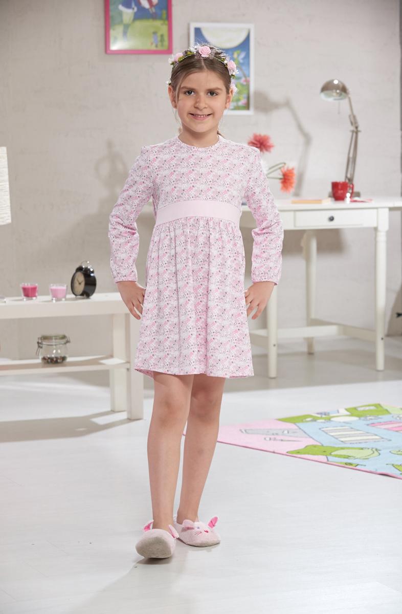 Платье домашнее для девочки Sevim, цвет: розовый. 7391 SV. Размер 9 (128/140)7391 SVДомашнее платье Sevim выполнено из мягкого эластичного хлопка. Модель с длинными рукавами, завышенной линией талии и круглым вырезом горловины оформлена цветочным принтом. Платье красиво смотрится, идеально сидит, дарит легкость, свободу движениям и оптимальный комфорт в процессе носки.