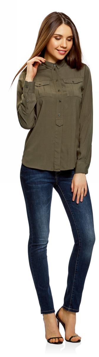 Рубашка женская oodji Ultra, цвет: темный хаки. 11411114-1/47046/6800N. Размер 42-170 (48-170)11411114-1/47046/6800NРубашка женская oodji Ultra выполнена из вискозы. Модель с отложным воротником и длинными рукавами застегивается на пуговицы.