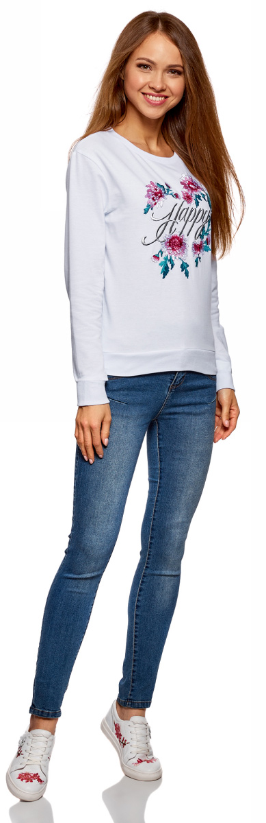 Свитшот женский oodji Ultra, цвет: белый. 14808015-8/46151/1019P. Размер XL (50)