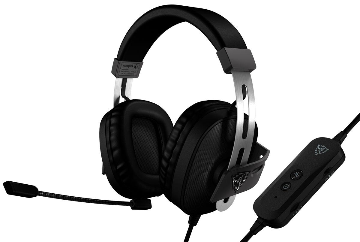 ThunderX3 Professional Virtual 7.1 Gaming TH40 игровая гарнитураTH40Игровая гарнитура ThunderX3 TH40отлично подойдет как для игр так и для просмотра фильмов.Яркая семицветная подсветка создаст особую игровую атмосферу и отличное настроение.Огромные драйверы ThunderX3 TH40 диаметром 53 миллиметра с глубокими низкими частотами, позволяют прочувствовать все звуки так, как если бы вы находились в эпицентре происходящего.Точная настройка положения чашек наушников, обеспечивает комфорт и избавляет от посторонних шумов и делает звуковую картину более реалистичной, благодаря плотному прилеганию амбушюр.Позолоченный USB-коннектор бережно передает звук с наивысшим качеством и четкостью, а также предотвращают износ коннектора от частого переподключения.Большие амбушюры ThunderX3 TH40 полностью охватывают ухо и плотно прилегают к голове, изолируя уши от посторонних шумов. Мягкость, с которой амбушюры касаются головы, обеспечиваются специальным материалом, который не создает дискомфортного давления и позволяет проводить даже самые длительные игровые марафоны без тени усталости.Эффект окружающего звука 7.1 в гарнитуре ThunderX3 TH40 выводит опыт использования гарнитур на новый уровень, позволяя почувствовать более глубокое и насыщенное звучание с точной направленностью каналов и полным эффектом погружения, который особенно ярко чувствуется в играх.Шумоподавляющие фильтры отрезают нежелательные звуки, делая голос легко узнаваемым и повышая точность передачи речи.В отличии от обычных игровых гарнитур, чашки ThunderX3 TH40 выполнены из металлической сетки черного цвета, придающей гарнитуре особую технологичную эстетику дизайну гарнитуры.Регулируемое оголовье игровой гарнитуры выполнено из нержавеющей стали, устойчивой к изгибам и деформации.Кожаное оголовье с мягким наполнением обеспечивает легкость посадки гарнитуры.