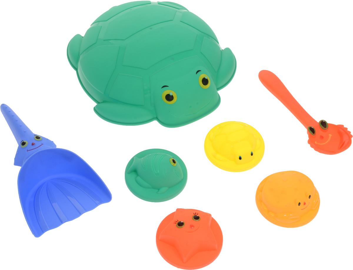 ABtoys Набор игрушек для песочницы Лучик 7 предметов PT-00690 4m фигурки из формочки грузовики 4м