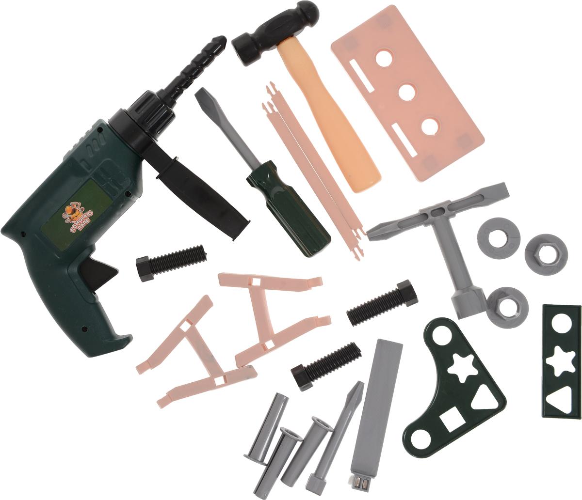 ABtoys Набор игрушечных инструментов Помогаю папе 22 предмета