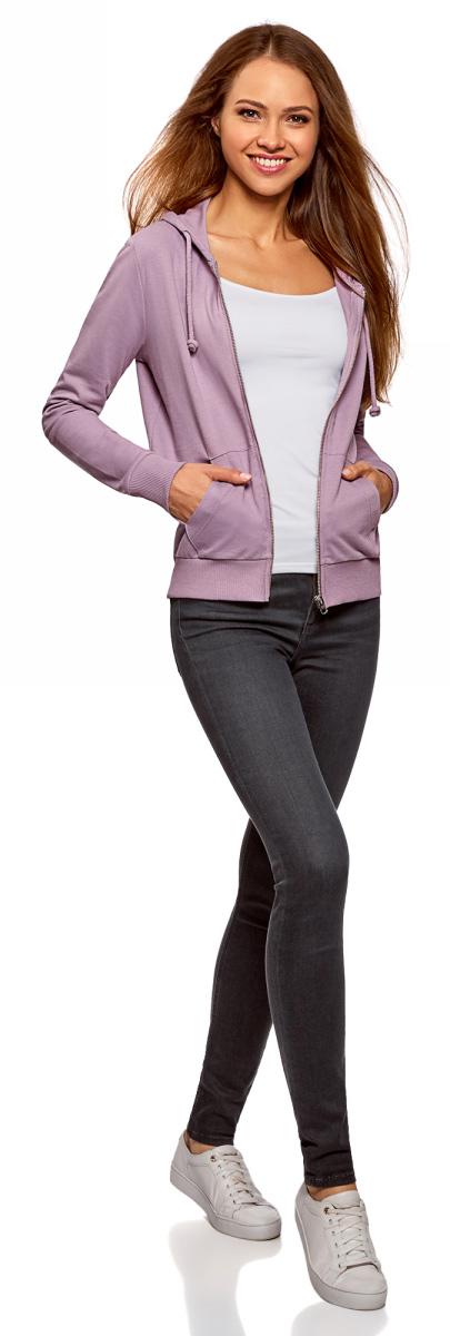 Толстовка женская oodji Ultra, цвет: сиреневый. 16901079-2B/46173/8000N. Размер L (48)16901079-2B/46173/8000NТолстовка oodji на молнии с капюшоном и накладными карманами. Манжеты и пояс толстовки связаны в плотный рубчик. Капюшон затягивается шнурком, продетым в кулиску с люверсами. Горловина защищена от растяжения проложенной внутри тесьмой. Спереди удобные карманы с простроченной планкой. Застежка на молнию. Мягкий плотный трикотаж комфортен в носке, позволяет телу дышать, активно отводит влагу. Эта толстовка идеально подходит для активного отдыха, утренних пробежек и походов в зал. Ее можно легко комбинировать со спортивными брюками, шортами, лосинами. К этому комплекту стоит добавить кроссовки. Толстовка отлично впишется в стиль casual в сочетании с джинсами, хлопковыми чинос, трикотажными юбками и легинсами. Образ получится дерзким и оригинальным, если надеть толстовку с кожаными брюками или пышной юбкой миди из легкой ткани и туфлями на шпильке или ботильонами на танкетке. Вы по достоинству оцените эту стильную и комфортную вещь.