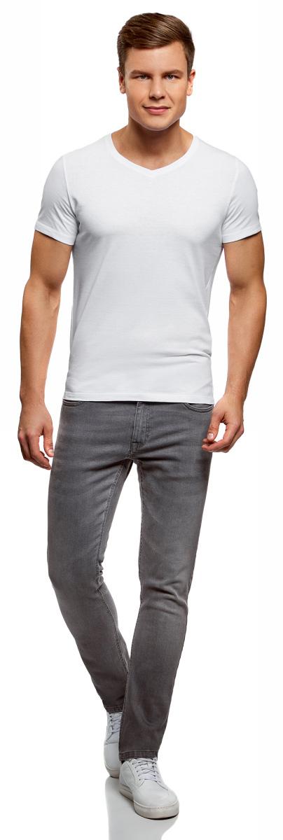 Футболка мужская oodji Basic, цвет: белый, черный, 2 шт. 5B612001T2/44135N/1901N. Размер XL (56)5B612001T2/44135N/1901NКомфортная мужская футболка от oodji с короткими рукавами и V-образным вырезом горловины выполнена из натурального хлопка. В комплекте 2 футболки.