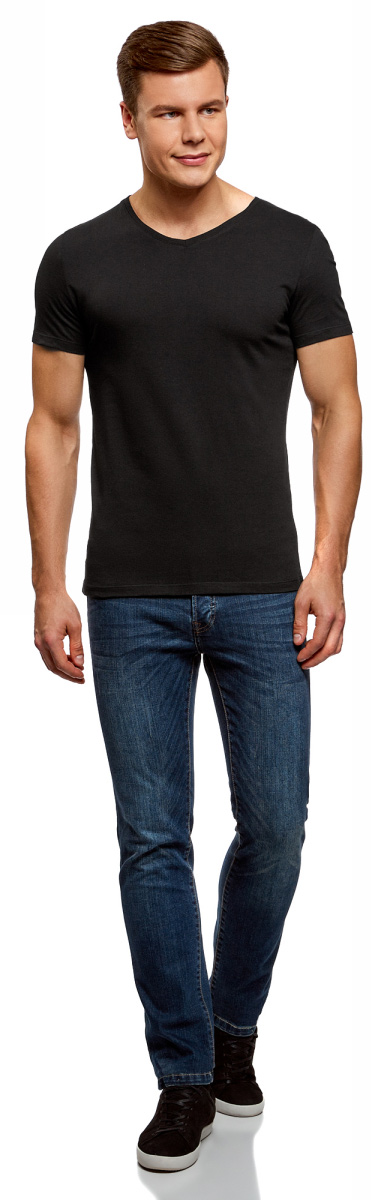 Футболка мужская oodji Basic, цвет: черный, 2 шт. 5B612001T2/44135N/2900N. Размер XL (56)5B612001T2/44135N/2900NКомфортная мужская футболка от oodji с короткими рукавами и V-образным вырезом горловины выполнена из натурального хлопка. В комплекте 2 футболки.