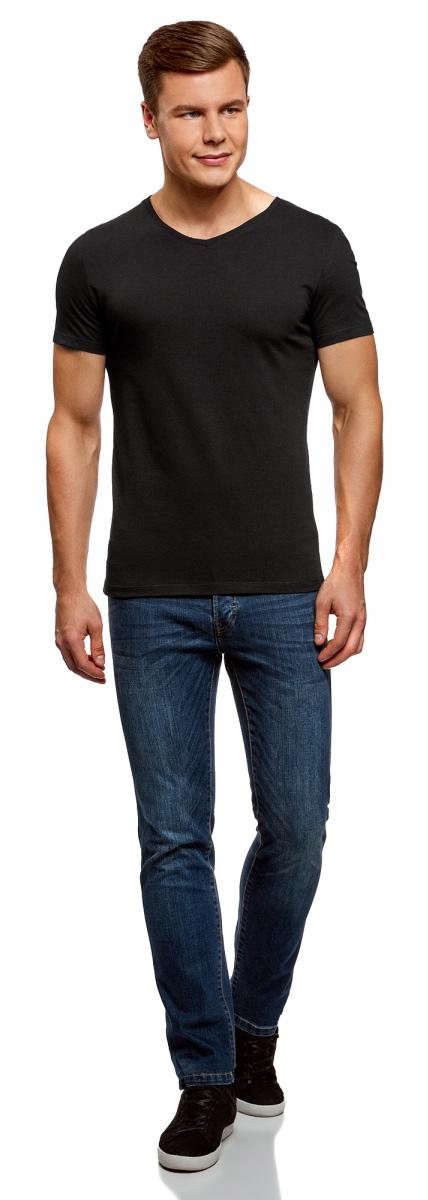 Футболка мужская oodji Basic, цвет: серый меланж, черный, 2 шт. 5B612001T2/44135N/1902N. Размер S (46/48) футболка мужская oodji basic цвет светло коралловый 5b621002m 44135n 4100n размер s 46 48