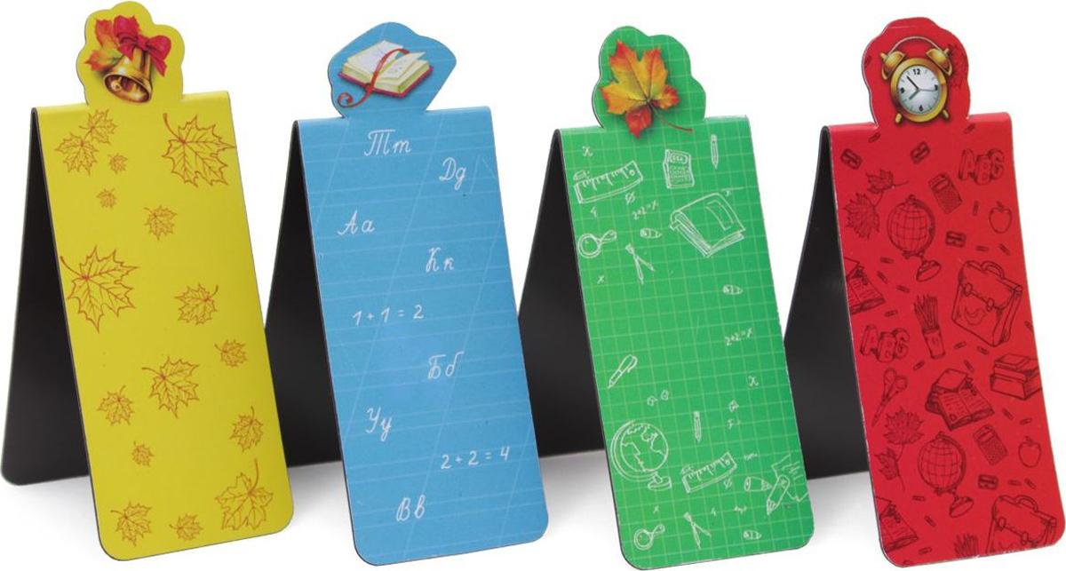 Феникс+ Набор магнитных закладок Пора в школу 4 шт42854Магнитная закладка Феникс+ изготовлена из мелованной бумаги. Закладка открывается по принципу книги и имеет на внутренних листочках две магнитные полоски, благодаря которым такая закладка не выпадет из книги и не потеряется.Магнитная закладка - практичная и оригинальная вещь для тех, кто любит читать. Этот стильный аксессуар поможет избежать траты времени на поиск нужной страницы, на которой вы прервали чтение.В наборе 4 закладки.