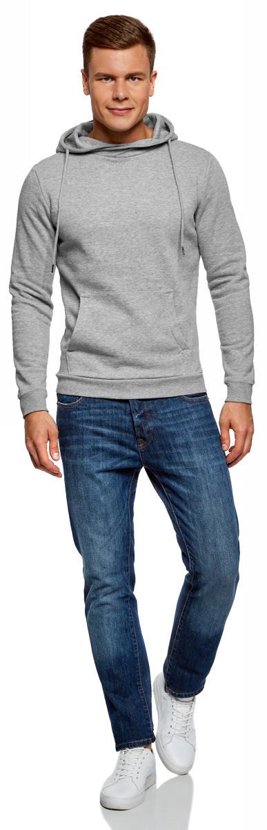 Худи мужское oodji Basic, цвет: серый меланж. 5B111001M-3/47835N/2300M. Размер XS (44)