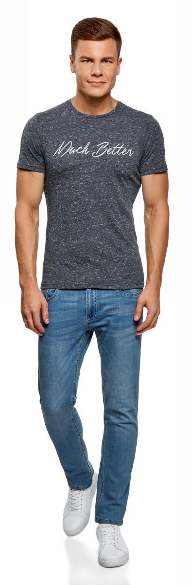 Футболка мужская oodji Lab, цвет: темно-синий, белый. 5L611402M/47567N/7910P. Размер S (46/48)5L611402M/47567N/7910PКомфортная мужская футболка от oodji с короткими рукавами и круглым вырезом горловины выполнена из высококачественного материала. Оформлена модель принтовой надписью на груди.