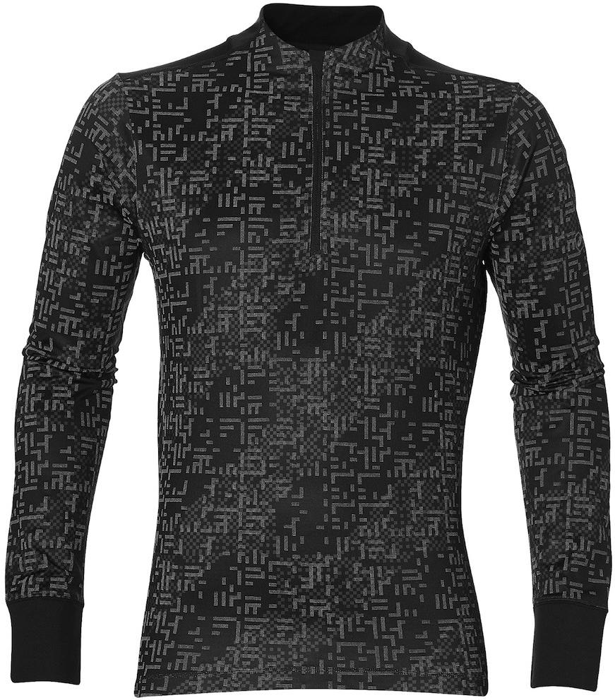 Лонгслив мужской Asics Lite-Show LS 1/2 Zip, цвет: черный. 146619-1179. Размер XXL (56)146619-1179Лонгслив от Asicsвыполнен в популярном среди бегунов стиле, имеет длинные рукава и просто необходим во время тренировок в зале и на улице. Перекрестно расположенные слегка эластичные волокна выполнены в форме сеточки, чтобы кожа дышала, а рукава-реглан с принтом обеспечивают свободу движений, не сковывая и помогая ставить новые рекорды. В качестве отделки используется светоотражающий логотип и другие элементы. С этим лонгсливом во время утренней пробежки вы гарантированно будете замечены.