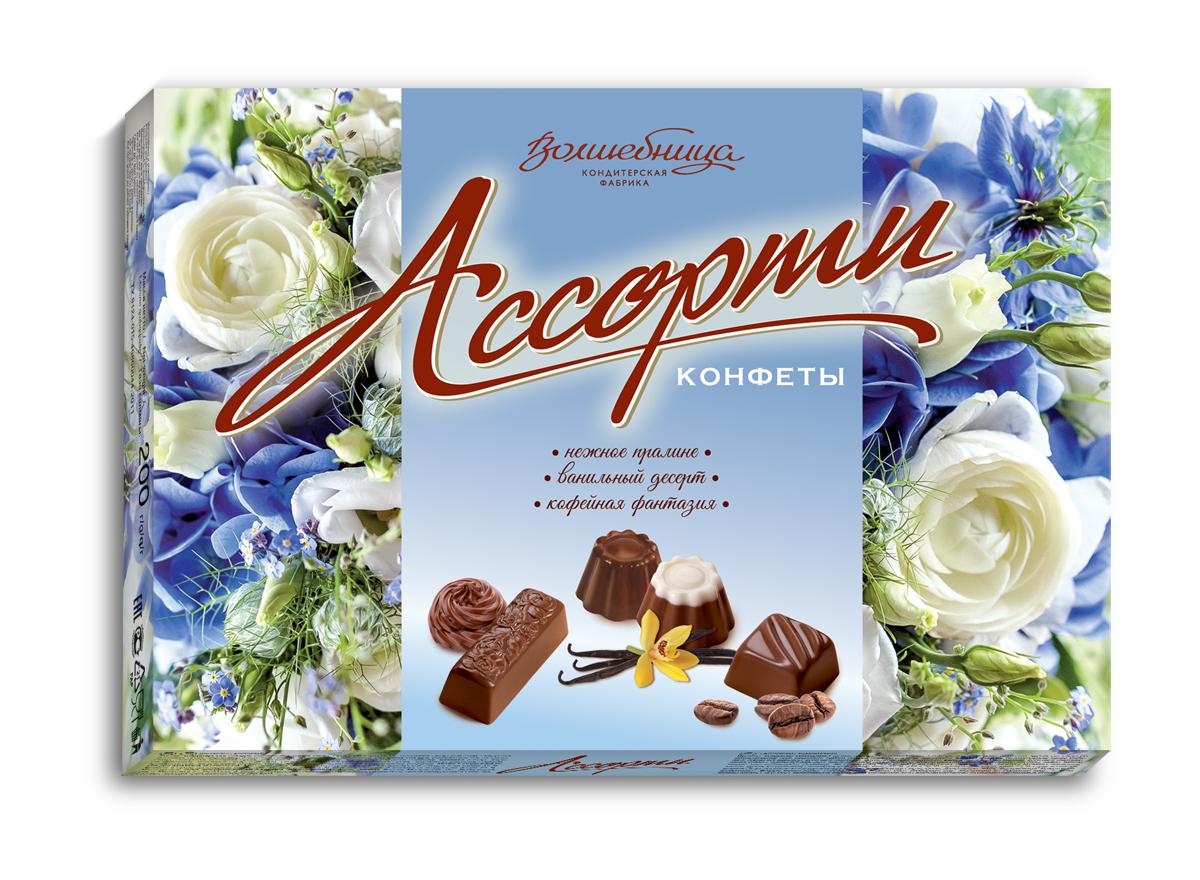 Волшебница конфеты ассорти с цветами (голубые), 200 г1.1501Классический набор ассорти из 3-х видов конфет с начинками любимых вкусов - ореховой, ванильной, кофейной. Яркие цветочные композиции помогают выразить свои чувства. Дарите подарки любимым каждый день!