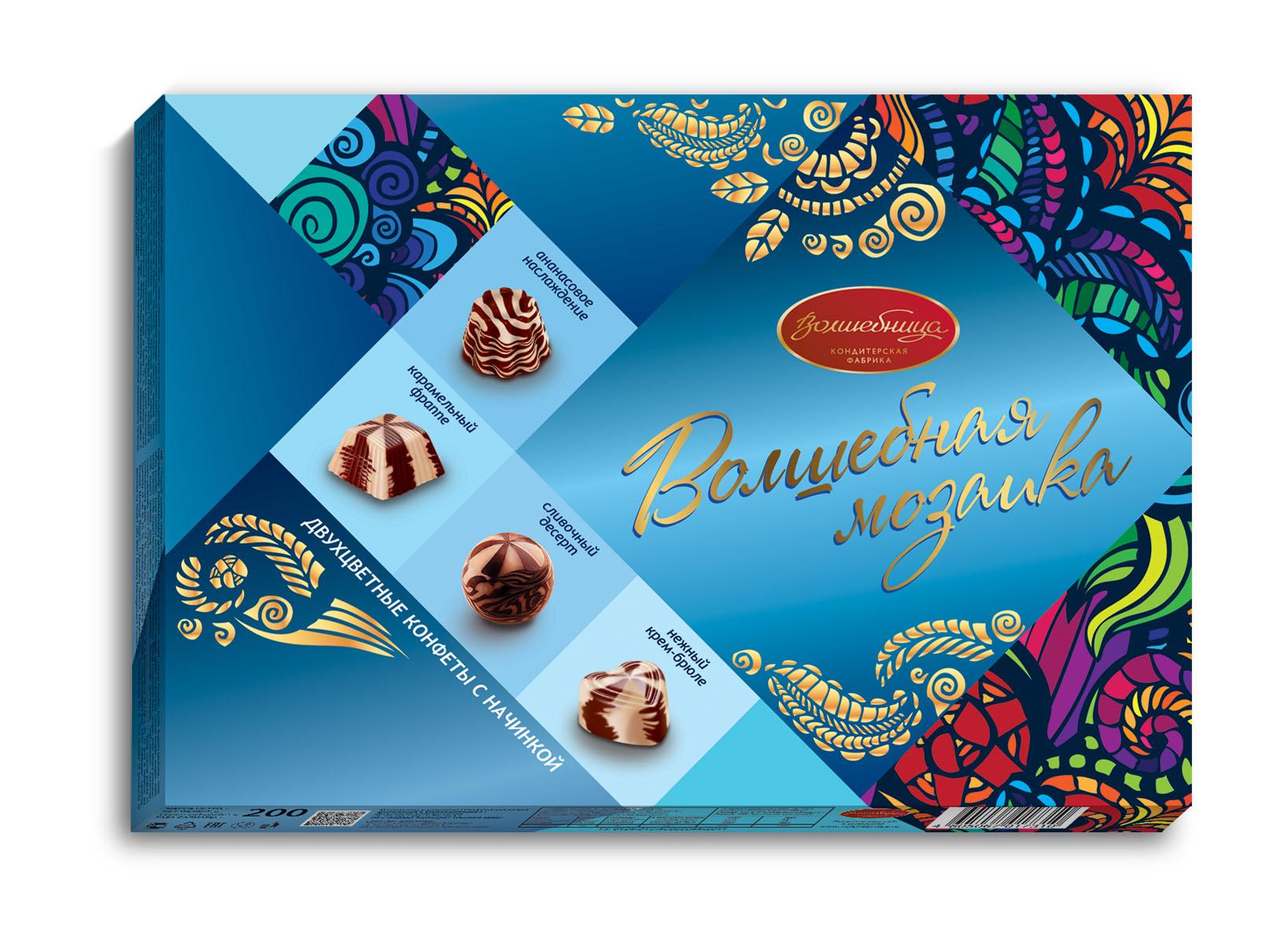 Волшебница Волшебная мозаика конфеты двухслойные с начинками, 200 г1.6498Набор двухцветных конфет ассорти с 4-мя популярными начинками - карамельной, сливочной, ананасовой, крем-брюле. Целая палитра вкусов в одной конфете - выбор максималистов. Интересное решение для запоминающегося подарка.