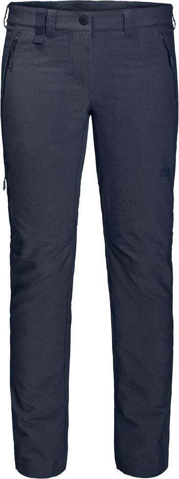 Брюки женские Jack Wolfskin Activate Sky W, цвет: темно-синий. 1504381-1910. Размер 42 (52)1504381-1910Эластичные, прекрасно дышащие водо- и ветронепроницаемые брюки Jack Wolfskin Activate Sky изготовлены из комбинированного, похожего на деним софтшелла. Модель прямого кроя стандартной посадки на талии имеет застежку-молнию в ширинке и пуговицу на эластичном поясе. Имеются шлевки для ремня. Изделие дополнено двумя прорезными карманами на молниях на бедрах и одним прорезным карманом на молнии на брючине. Ширину в области лодыжек можно регулировать.На альпийских тропах или в джунглях большого города - брюки Activate Sky позволяют вам сочетать стиль и функциональность. Эти практичные брюки сшиты из нового, похожего на деним, материала Flex Shield. Приятная легкая и прекрасно дышащая ткань обладает также водо- и ветронепроницаемыми свойствами. Все это делает ее максимально комфортной. Суперэластичные вставки в ключевых областях создают необходимую свободу движений на сложных горных маршрутах.