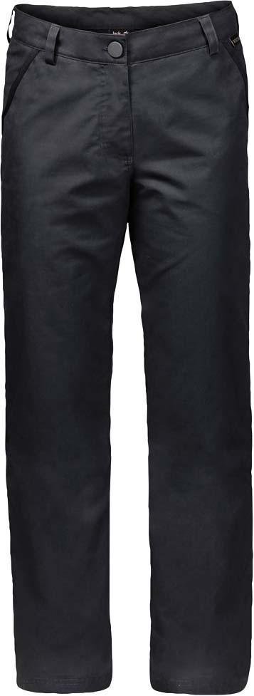 Брюки утепленные женские Jack Wolfskin Arctic Road Pants W, цвет: темно-серый. 1503501-6350. Размер 40 (50)1503501-6350Прочные ветро- и водонепроницаемые брюки с теплой подкладкой Jack Wolfskin Arctic Road Pants подойдут для путешествий и для повседневной носки. Модель прямого кроя стандартной посадки на талии имеет застежку-молнию в ширинке и пуговицу на поясе. Имеются шлевки для ремня. Изделие дополнено двумя втачными карманами спереди и двумя прорезными карманами на пуговицах сзади. Чтобы оценить по достоинству брюки Arctic Road Pants, совсем не обязательно ехать в Арктику. Они отлично согреют вас и на прогулке по зимнему парку. Брюки сшиты из прочной проверенной временем ткани Function 65 - практичного гибридного материала из смеси органического хлопка и прочных синтетических волокон. Ткань эффективно защищает от ветра, а кратковременные ливни ей совсем не помеха. А мягкая теплая подкладка из микрофибры не позволит вам замерзнуть. Два кармана на бедрах и два задних кармана смогут вместить деньги, ключи и другие важные вещи, которые лучше держать под рукой.