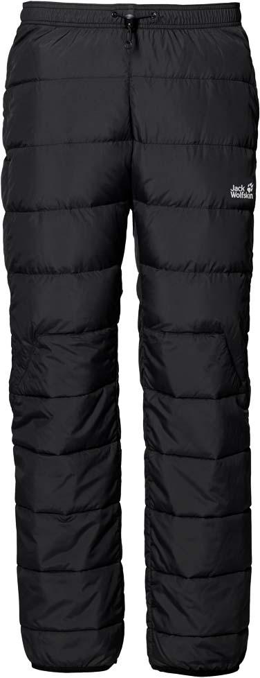 Брюки утепленные мужские Jack Wolfskin Atmosphere Pants M, цвет: черный. 1501141-6000. Размер XXL (54)1501141-6000Экстратеплые и легкие пуховые брюки Jack Wolfskin Atmosphere Pants при температуре ниже нуля помогут вам согреться как в горной хижине, так и в палатке. Надев эти брюки, вы навсегда попрощаетесь с холодом.Модель прямого кроя стандартной посадки на талии с завышенной задней частью имеет пояс на регулируемой резинке со стоппером и дополнена задним прорезным карманом на молнии. Брюки изготовлены из легкой, прекрасно дышащей, ветро-и водостойкой ткани Full Dull Mini Ripstop. В качестве утеплителя использован легкий высокоэффективный утиный пух с перьями, который обеспечивает наилучшую в своем классе теплоизоляцию при минимальном весе. В области голеней, коленей и седла вместо пуха использован прочный синтетический утеплитель Microguard (120 г/м2). Этот материал менее чувствителен к намоканию и лучше переносит сдавливание.Когда необходимость в теплых брюках отпадет, их можно плотно упаковать в чехол, входящий в комплект. При этом они почти не займут места в вашем рюкзаке.