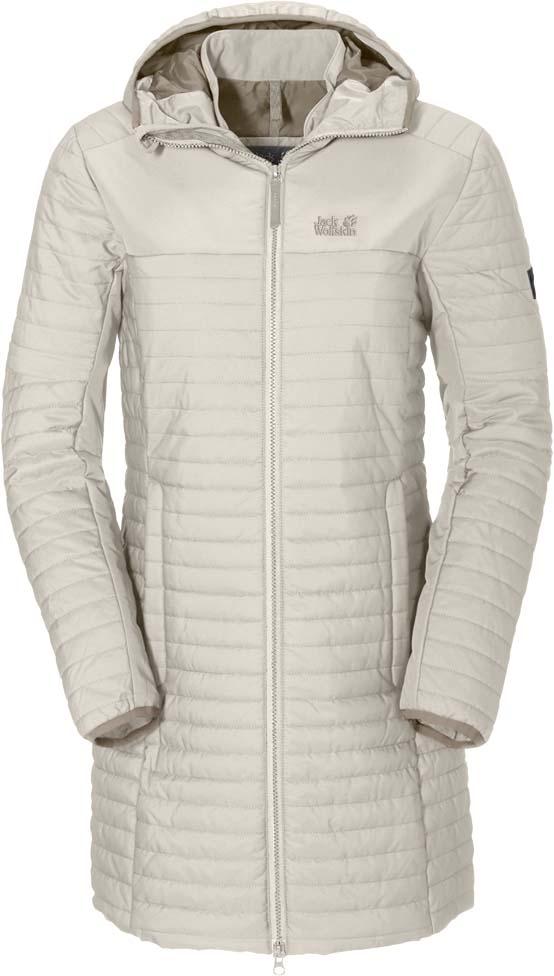 Куртка женская Jack Wolfskin Clarenville, цвет: молочный. 1201902-5045. Размер M (48)1201902-5045Ветронепроницаемое пальто с утеплителем из синтетического волокна Jack Wolfskin Clarenville обеспечит вам надежное тепло для прохладных дней.Модель приталенного кроя с воротником-стойкой, надежно защищающим от ветра, и вшитым капюшоном застегивается на молнию и дополнена двумя карманами на бедрах и внутренним карманом. Рукава дополнены внутренними манжетами из флиса. Края рукавов и капюшона обработаны эластичным кантом. Поездки по окрестностям и экскурсии по городу могут радовать и в зимнюю пору. Именно для них создано пальто Clarenville. С этим ветронепроницаемым утепленным стеганым пальто вы всегда будете в тепле. Комбинация утеплителя Microguard и ткани Stormlock делает его прекрасным выбором и для зимних походов, и для повседневной носки. Такая одежда защитит вас от кратковременного дождя, а когда вы будете бежать, чтобы успеть на последний вечерний поезд, вы оцените ее дышащие качества. Внутренние манжеты из флиса в рукавах пальто делают его еще более уютным.