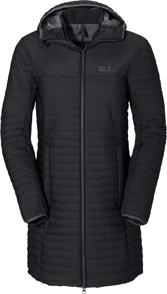 Куртка женская Jack Wolfskin Clarenville, цвет: черный. 1201902-6000. Размер M (48)1201902-6000Ветронепроницаемое пальто с утеплителем из синтетического волокна Jack Wolfskin Clarenville обеспечит вам надежное тепло для прохладных дней.Модель приталенного кроя с воротником-стойкой, надежно защищающим от ветра, и вшитым капюшоном застегивается на молнию и дополнена двумя карманами на бедрах и внутренним карманом. Рукава дополнены внутренними манжетами из флиса. Края рукавов и капюшона обработаны эластичным кантом. Поездки по окрестностям и экскурсии по городу могут радовать и в зимнюю пору. Именно для них создано пальто Clarenville. С этим ветронепроницаемым утепленным стеганым пальто вы всегда будете в тепле. Комбинация утеплителя Microguard и ткани Stormlock делает его прекрасным выбором и для зимних походов, и для повседневной носки. Такая одежда защитит вас от кратковременного дождя, а когда вы будете бежать, чтобы успеть на последний вечерний поезд, вы оцените ее дышащие качества. Внутренние манжеты из флиса в рукавах пальто делают его еще более уютным.