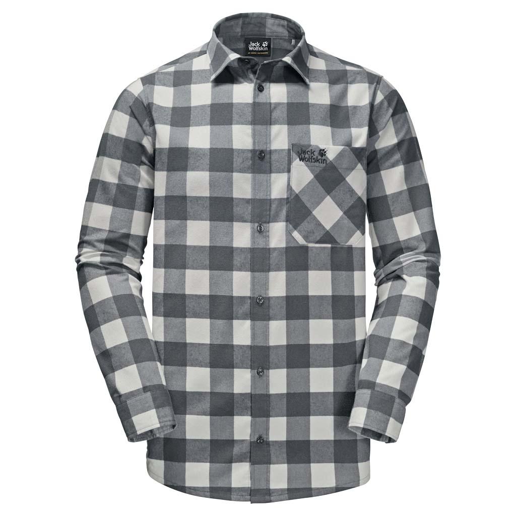 Рубашка мужская Jack Wolfskin Red River Shirt, цвет: серый. 1402551-7063. Размер L (48/50)1402551-7063Прочная клетчатая рубашка Jack Wolfskin Red River Shirt в стиле траппер изготовлена из практичной и прочной фланели с влагоотводящими свойствами. Модель прямого кроя с длинными рукавами с манжетами на пуговицах застегивается на пуговицы.Теплый материал очень приятен на ощупь и не требует особого ухода. А еще он прекрасно дышит, что делает рубашку идеальной для активного отдыха на открытом воздухе зимой. Нагрудный карман с клапаном с легкостью вместит ваш навигатор, смартфон или энергетический батончик.