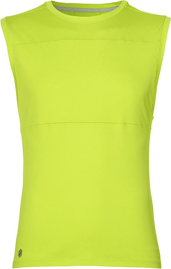 Майка мужская Asics Performance Vest, цвет: салатовый. 149102-0432. Размер S (46)149102-0432Майка без рукавов от Asics выполнена в популярном среди бегунов стиле и просто необходима во время тренировок на улице. В качестве отделки используется светоотражающий логотип и другие элементы. С этой моделью во время утренней или вечерней пробежки вы гарантированно будете замечены.