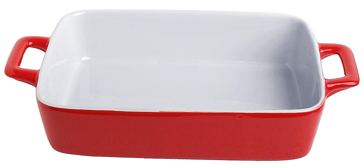 Противень керамический Frank Moller, цвет: красный, белый, 30 х 17,5 х 5,5 смFM-622Противень керамический Frank Moller выполнен из высококачественной жаропрочной керамики. Благодаря обжигу при высоких температурах изделие имеет прочную непористую структуру и идеально гладкую поверхность. Материал гигиеничен, не впитывает запахи, легко моется, нейтрален к пищевым кислотам и солям. Обеспечивает щадящий режим приготовления, благодаря способности медленно накапливать тепло и медленно его отдавать. По бокам изделие дополнено удобными ручками. Противень подходит для использования в духовке, гриле, микроволновых печах, для хранения в холодильнике и замораживания. Можно мыть в посудомоечной машине. Выдерживает нагрев до 220°С.Размер (с учетом ручек): 30 х 17,5 х 5,5 см.
