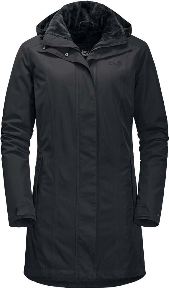 Куртка удлиненная женская Jack Wolfskin Madison Avenue Coat, цвет: темно-серый. 1107732-6350. Размер L (50)1107732-6350Водонепроницаемое, дышащее зимнее пальто с флисовой подкладкой и съемным капюшоном Jack Wolfskin Madison Avenue Coat обеспечит вам надежное тепло для холодных дней. Модель приталенного кроя с воротником-стойкой, надежно защищающим от ветра, и съемным капюшоном с возможностью регулировать внутренний объем и область обзора застегивается на молнию с ветрозащитной планкой на кнопках и дополнена 2 карманами на бедрах, внутренним и потайным карманами. На манжетах рукавов имеются хлястики на кнопках для регулировки объема. Линию талии подчеркивает внутренняя резинка. Из города в поход, навстречу холодному ветру, пальто Madison Avenue Coat не даст вам замерзнуть. Дождь тоже вас не побеспокоит, так как внешнее покрытие Texapore Twillsuede 2L - это водо- и ветронепроницаемая, дышащая наружная ткань с бархатистой отделкой (водостойкость в мм водяного столба: 10 000 мм, паропроницаемость (MVTR): > 6000 г/м2/24 ч). Неважно как много времени вы провели под дождем или снегом, в этом пальто вам всегда будет сухо, потому что оно оснащено синтетическим утеплителем со средним уровнем теплоизоляции Polyfiber Fill (100 г/м2). Он отталкивает влагу и сохраняет тепло там, где вы больше всего в нем нуждаетесь - рядом с телом. Для дополнительного комфорта изнанка пальто представляет собой мягкий флис Nanuk 300 Highloft Heather: исключительно теплый флис с высоким ворсом, меланжевый рисунок, отличное соотношение согревающей способности и веса, занимает мало места в рюкзаке. Куртке Madison Avenue просто суждено стать уверенным фаворитом вашего зимнего гардероба.
