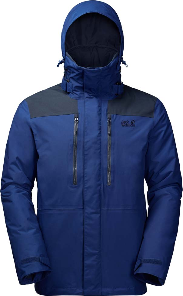 Куртка мужская Jack Wolfskin Yukon Jacket, цвет: синий. 1109781-1505. Размер XXL (54)1109781-1505Невероятно прочная и очень теплая треккинговая куртка Jack Wolfskin Yukon Jacket обеспечит вам надежное тепло для холодных дней. Модель прямого кроя с воротником-стойкой, надежно защищающим от ветра, и капюшоном с возможностью регулировать внутренний объем и область обзора застегивается на молнию с ветрозащитной планкой на кнопках и дополнена 4 карманами на бедрах, 2 нагрудными карманами и 2 внутренними карманами. При необходимости капюшон убирается в воротник куртки. На манжетах рукавов имеются хлястики на кнопках для регулировки объема, а плотно облегающие внутренние эластичные манжеты обеспечивают сохранение тепла. Собираетесь исследовать огромные пространства с рюкзаком за спиной? В этом случае, куртка Yukon обязательно вам подойдет. Защищая вас от холода и влаги, она не боится никаких приключений.Куртке не страшны ни канадские, ни скандинавские зимы. Даже если весь день шел дождь, вы вернетесь в лагерь вечером абсолютно сухими. Куртка изготовлена из материала Texapore Taslan 2L -это прочная, водонепроницаемая и дышащая наружная ткань с отделкой, похожей на хлопок (водостойкость в мм водяного столба: 10 000 мм, паропроницаемость (MVTR): > 6000 г/м2/24 ч). В плечевой зоне модели Yukon имеются вставки из суперпрочного и абсолютно водонепроницаемого материала Texapore O2+ Oxford (водостойкость в мм водяного столба: 20 000 мм, паропроницаемость (MVTR): > 15 000 г/м2/24 ч), который не позволит вам намокнуть даже с тяжелым рюкзаком за плечами.Супертеплый и нечувствительный к влаге синтетический утеплитель Microguard (140 г/м2) придает куртке отличные теплозащитные свойства, и она сохраняет свои теплозащитные свойства даже во влажном состоянии.
