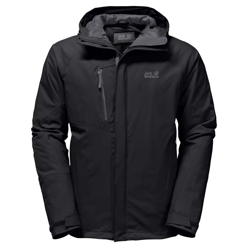 Куртка мужская Jack Wolfskin Troposphere M, цвет: черный. 1106901-6001. Размер XL (52)1106901-6001Зимняя куртка для хайкинга Jack Wolfskin Troposphere изготовлена из водо- и ветронепроницаемого материала с теплой подкладкой. Модель прямого кроя с высоким воротником-стойкой, надежно защищающим от ветра, застегивается на молнию с ветрозащитной планкой на кнопках и дополнена вшитым капюшоном с защитным козырьком и возможностью регулировать внутренний объем и область обзора. Изделие имеет два кармана на бедрах, нагрудный карман, внутренний карман, вентиляционные молнии в подмышечной области, дополнительные манжеты и канал для провода наушников. С курткой Jack Wolfskin Troposphere погода и температура на улице перестанут иметь для вас значение. Все благодаря одному преимуществу этой водо- и ветронепроницаемой куртки - инновационному утеплителю Downfiber - продуманной смеси пуха и перьев с водоотталкивающей обработкой и синтетических волокон. Этот утеплитель не только очень эффективный, но еще и ультралегкий и нечувствительный к влаге. А благодаря прекрасно дышащей ткани Texapore, эта замечательная куртка готова к новым масштабным приключениям. - Материал верха: Texapore O2+ Stretch 2L: эластичная, совершенно водо- и ветронепроницаемая, невероятно дышащая наружная ткань (водостойкость в мм водяного столба: 20 000, паропроницаемость (MVTR): > 15 000 г/м?/24 ч). - Утеплитель 1: Downfiber 700 cuin: утеплитель состоит из 70% утиного пуха с водоотталкивающей обработкой и 30% невероятно теплых, быстросохнущих и легких в уходе синтетических волокон с высоким ворсом (упругость 700 cuin); сертифицировано RDS. - Утеплитель 2: Microguard (120 г/м?): эффективный синтетический утеплитель.