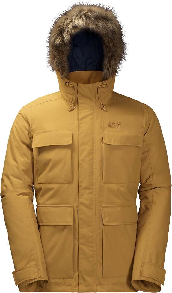 Куртка мужская Jack Wolfskin Point Barrow, цвет: желтый. 1108152-5205. Размер L (48/50)1108152-5205Очень теплая, ветро- и водонепроницаемая зимняя куртка с капюшоном Jack Wolfskin Point Barrow обеспечит вам надежное тепло для холодных дней.Модель прямого кроя с воротником-стойкой, надежно защищающим от ветра, и вшитым капюшоном с возможностью регулировать внутренний объем и область обзора застегивается на молнию с ветрозащитной планкой на кнопках и дополнена четырьмя внешними накладными карманами и двумя внутренними карманами. Прогуливаетесь ли вы в декабре вдоль побережья Балтийского моря или бредете по заснеженному Шварцвальду, зимняя парка Point Barrow обеспечит вас надежной защитой при температурах ниже нуля.Очень плотный синтетический утеплитель Microguard (200 г/м2) не даст вам замерзнуть, даже если на улице мороз. Утеплитель настолько прочен, что ни сжатие, ни влага не нарушат его защитные свойства.Внешняя сторона изготовлена из материала Texapore Oxford 2L (водостойкость в мм водяного столба: 10 000 мм, паропроницаемость (MVTR): > 6000 г/м2/24 ч), обеспечивающего надежную защиту от дождя и ветра. Прекрасные дышащие свойства ткани создают непревзойденный комфорт. Манжеты на внутренней стороне рукава не позволяют проникнуть внутрь ни ветру, ни снегу. Капюшон оснащен съемной оторочкой на молнии из искусственного меха.
