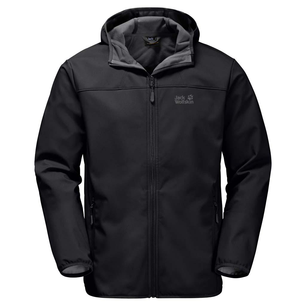 Куртка мужская Jack Wolfskin Northern Point, цвет: черный. 1304001-6000. Размер S (42)1304001-6000Куртка мужская Northern Point изготовлена из 100% полиэстера. Ткань дышащая, водонепроницаемая и непродуваемая. Модель застегивается на молнию, имеет длинные стандартные рукава с манжетами на резинке и воротник-стойку с капюшоном. По бокам расположены карманы на молнии. Если самое важное для вас - комфорт на открытом воздухе, куртка Northern Point - это то, что вы искали. Она простая, незамысловатая, практичная и подходит для длительных сложных походов в горах или для сплава на байдарках по озеру. Дизайн и характеристики этой софтшелльной куртки сведены к самому необходимому: защита от ветра и воздухопроницаемость. Капли дождя скатываются с поверхности плотного материала Stormlock. Материал куртки настолько эластичен, что она будет удобно сидеть на вас, чем бы вы в ней ни занимались. Простая куртка без излишеств, которая обеспечит вас тем, чем и должен обеспечивать софтшелл.
