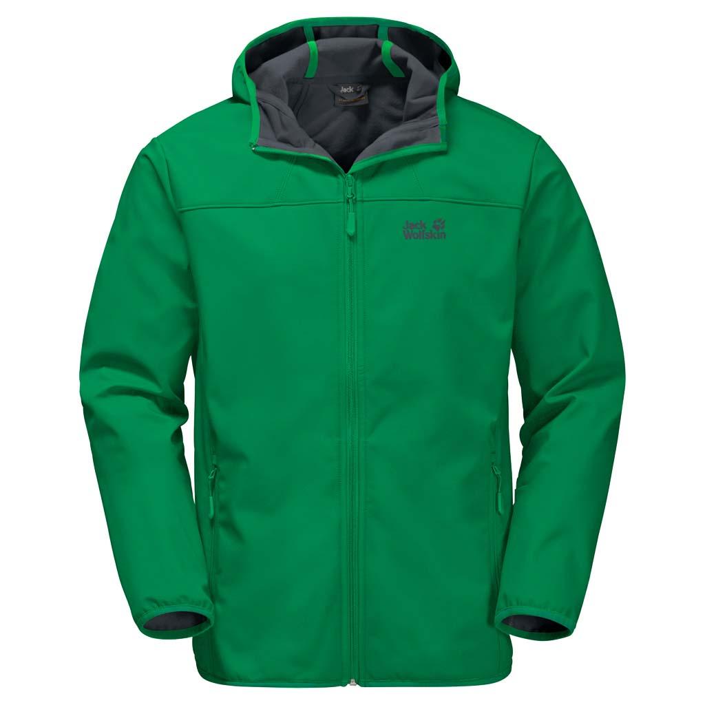 Куртка мужская Jack Wolfskin Northern Point, цвет: зеленый. 1304001-4082. Размер XL (52)1304001-4082Куртка мужская Northern Point изготовлена из 100% полиэстера. Ткань дышащая, водонепроницаемая и непродуваемая. Модель застегивается на молнию, имеет длинные стандартные рукава с манжетами на резинке и воротник-стойку с капюшоном. По бокам расположены карманы на молнии. Если самое важное для вас - комфорт на открытом воздухе, куртка Northern Point - это то, что вы искали. Она простая, незамысловатая, практичная и подходит для длительных сложных походов в горах или для сплава на байдарках по озеру. Дизайн и характеристики этой софтшелльной куртки сведены к самому необходимому: защита от ветра и воздухопроницаемость. Капли дождя скатываются с поверхности плотного материала Stormlock. Материал куртки настолько эластичен, что она будет удобно сидеть на вас, чем бы вы в ней ни занимались. Простая куртка без излишеств, которая обеспечит вас тем, чем и должен обеспечивать софтшелл.
