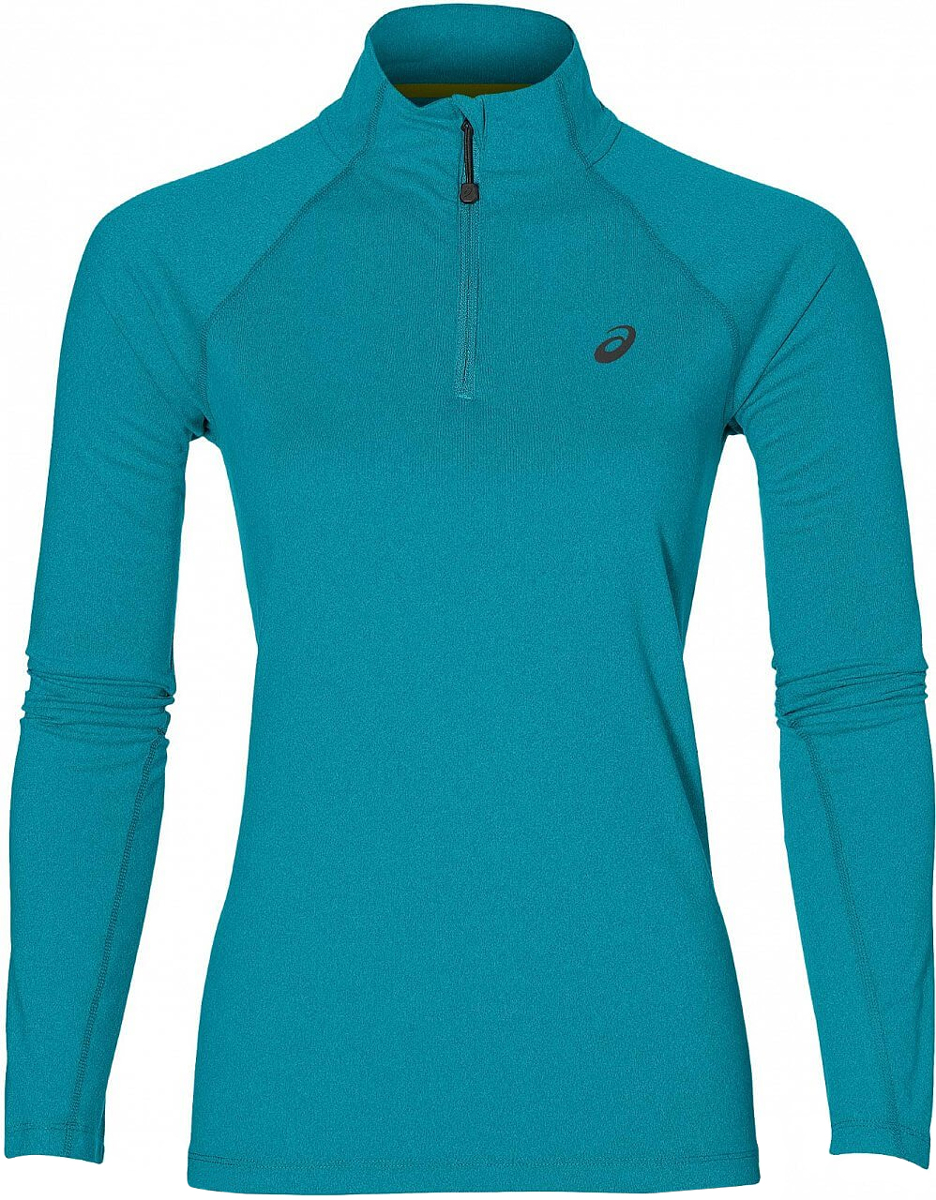 Лонгслив для бега женский Asics Ls 1/2 Zip Jersey, цвет: бирюзовый. 141647-8057. Размер XL (50/52) лонгслив для бега женский asics ess winter 1 2 zip цвет черный 134109 0904 размер xs 40 42