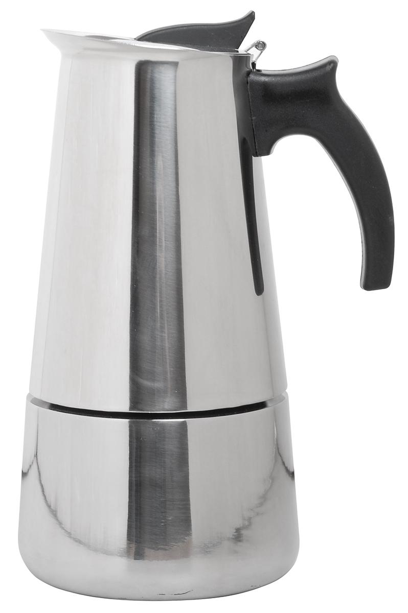 Кофейник Queen Ruby, 300 мл. QR-6030QR-6030Кофеварка гейзерная Queen Ruby Tiffany изготовлена из высококачественной нержавеющей стали. Изделие оснащено удобной пластиковой ручкой.Принцип работы гейзерной кофеварки - кофе заваривается путем многократного прохождения горячей воды или пара через слой молотого кофе. Удобство такой кофеварки в том, что вся кофейная гуща остается во внутренней емкости. Гейзерные кофеварки пользуются большой популярностью благодаря изысканному аромату. Кофе получается крепкий и насыщенный. Теперь и дома вы сможете насладиться великолепным эспрессо. Подходит для газовых, электрических, стеклокерамических, индукционных плит. Высота (с учетом крышки): 20 см.