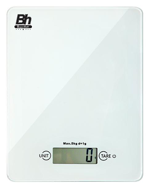 Весы кухонные электронные Bayerhoff, цвет: белый, до 5 кг. BH-5601BH-5601Электронные кухонные весы Bayerhoff простые и удобные для использования всегда будут под рукой. Изделие имеет высокоточный сенсорный дисплей и стеклянную платформу. За ними легко ухаживать - достаточно просто протереть поверхность платформы. Весы снабжены индикатором разряда батареи и перегрузки, режимом обнуления тары, разными единицами измерения, автоматическим выключением, сенсорным управлением и жидкокристаллическим дисплеем. Для правильной работы максимальный вес продуктов не должен превышать 5 кг.Весы работают от батарейки: 1*3В СR2032 (входит в комплекте).
