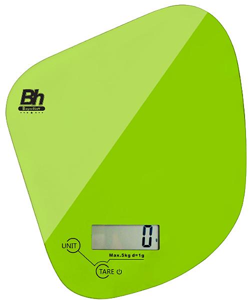 Весы кухонные электронные Bayerhoff, цвет: зеленый, до 5 кг. BH-5603BH-5603Электронные кухонные весы Bayerhoff простые и удобные для использования всегда будут под рукой. Изделие имеет высокоточный сенсорный дисплей и стеклянную платформу. За ними легко ухаживать - достаточно просто протереть поверхность платформы.Весы снабжены индикатором разряда батареи и перегрузки, режимом обнуления тары, разными единицами измерения, сенсорным управлением и жидкокристаллическим дисплеем. Для правильной работы максимальный вес продуктов не должен превышать 5 кг.Размер весов: 168 х 150 х 17 мм.Весы работают от батарейки: 1*3В СR2032 (входит в комплекте).