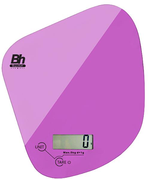 Весы кухонные электронные Bayerhoff, цвет: розовый, до 5 кг. BH-5604BH-5604Электронные кухонные весы Bayerhoff простые и удобные для использования всегда будут под рукой. Изделие имеет высокоточный сенсорный дисплей и стеклянную платформу. За ними легко ухаживать - достаточно просто протереть поверхность платформы.Весы снабжены индикатором разряда батареи и перегрузки, режимом обнуления тары, разными единицами измерения, сенсорным управлением и жидкокристаллическим дисплеем. Для правильной работы максимальный вес продуктов не должен превышать 5 кг.Размер весов: 168 х 150 х 17 мм.Весы работают от батарейки: 1*3В СR2032 (входит в комплекте).