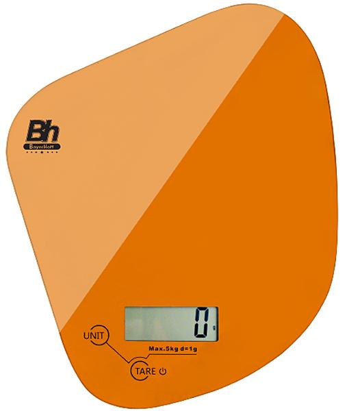 Весы кухонные электронные Bayerhoff, цвет: оранжевый, до 5 кг. BH-5605BH-5605Электронные кухонные весы Bayerhoff простые и удобные для использования всегда будут под рукой. Изделие имеет высокоточный сенсорный дисплей и стеклянную платформу. За ними легко ухаживать - достаточно просто протереть поверхность платформы.Весы снабжены индикатором разряда батареи и перегрузки, режимом обнуления тары, разными единицами измерения, сенсорным управлением и жидкокристаллическим дисплеем. Для правильной работы максимальный вес продуктов не должен превышать 5 кг.Размер весов: 168 х 150 х 17 мм.Весы работают от батарейки: 1*3В СR2032 (входит в комплекте).