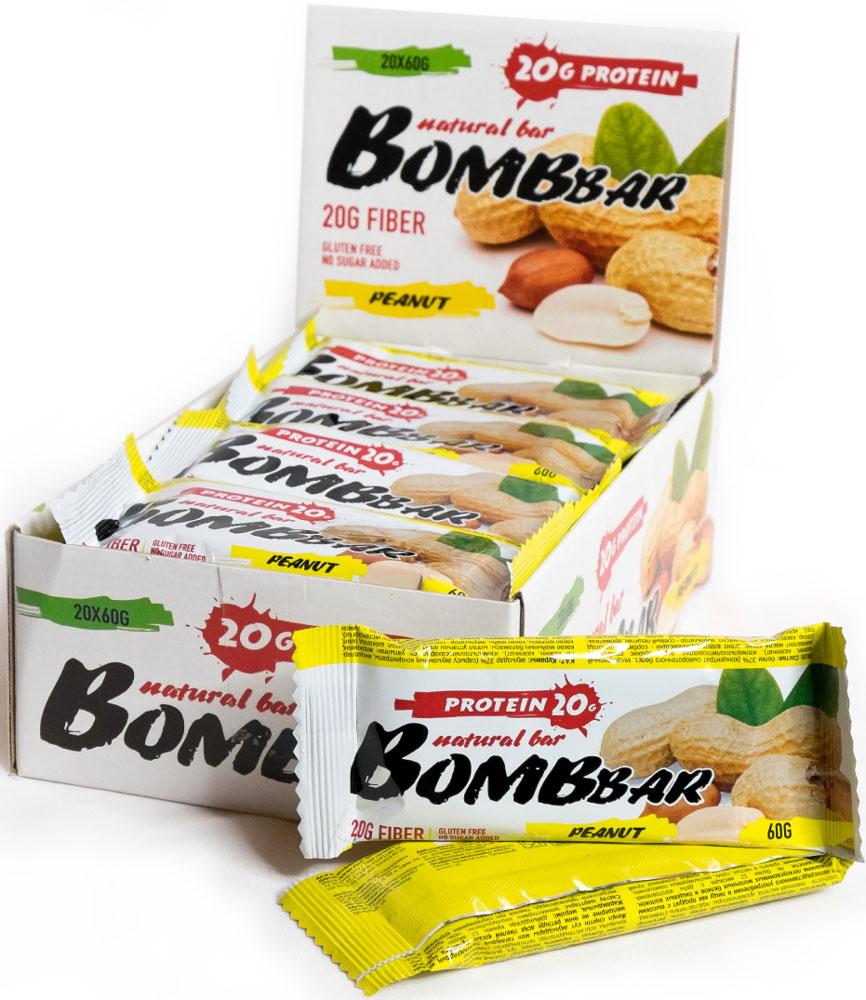 Батончик протеиновый Bombbar, арахис, 20 шт х 60 г14620020960493Bombbar - это спортивный батончик с высоким содержанием протеина и минимальным количеством сахара. Обладает восхитительным вкусом, быстро снабжает организм многокомпонентным протеином, отлично подходит для белковой диеты.Протеиновый батончик Bombbar:- поможет снизить вес,- питает мышечную массу,- придает эффект сытости,- улучшает общее состояние системы пищеварения,- способствует росту полезной микрофлоры,- способствует подержанию здорового уровня сахара в крови,- не содержит сахар,- не содержит ГМО.Состав: белки 37%(концентрат сывороточного белка, мицеллярный казеин, казеинат), изомальтоолигосахорид, вода, арахис дробленый, эквивалент масла какао, агент влагоудерживающий - сорбитол, шоколоад (сахар, какао-масса, какао-масло, эмульгвтор - соевый лецитин, ароматизатор), краситель натуральный - еарамельный колер, соль, регулятор кислотности - лимонная кислота, ароматизаторы, подсластитель стевиозид.Товар сертифицирован.Как повысить эффективность тренировок с помощью спортивного питания? Статья OZON Гид