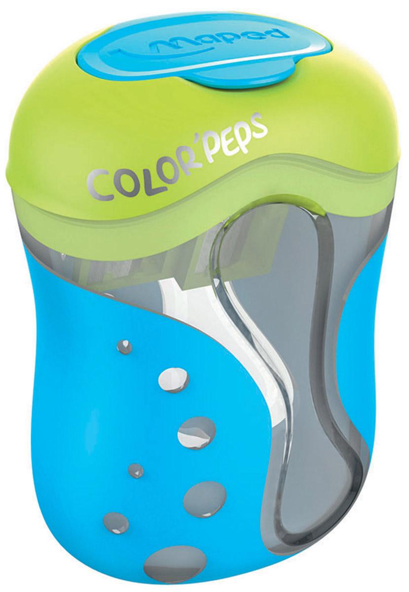 Maped Точилка Color Peps двойная цвет синий салатовый043110_синий, салатовыйДвойная точилка Color Peps с пластиковым корпусом предназначена для затачивания цветных карандашей.Точилка имеет два отверстия для карандашей различных диаметров. Острое лезвие обеспечивает высококачественную и точную заточку. Карандаш затачивается легко и аккуратно, а опилки после заточки остаются в специальном контейнере. Точилка дополнена практичной пластиковой крышечкой, а также системой закругления кончика.