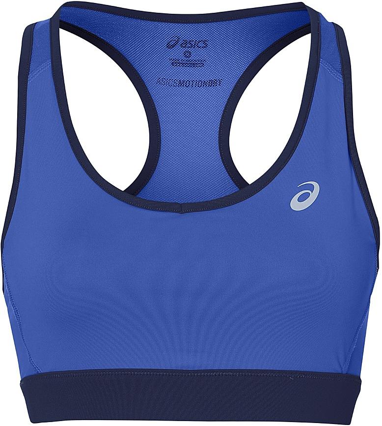 Топ-бра для фитнеса Asics Racerback Bra, цвет: синий. 141117-8091. Размер M (46/48)141117-8091Топ-бра Reebok Racerback Bra выполнен из эластичной ткани. Специальная конструкция спинки топа облегчает движения, а воздухопроницаемая сетчатая ткань и технология Motion Dry позволяют коже свободно дышать, отводя влагу и сохраняя тело в сухости. Плоские швы предотвращают натирание, а эластичный пояс надежно удерживает топ на месте.