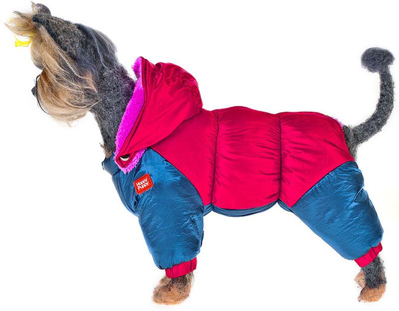 """Пуховик для собак """"Happy Puppy"""", для мальчика, цвет: красный, синий. Размер XL"""