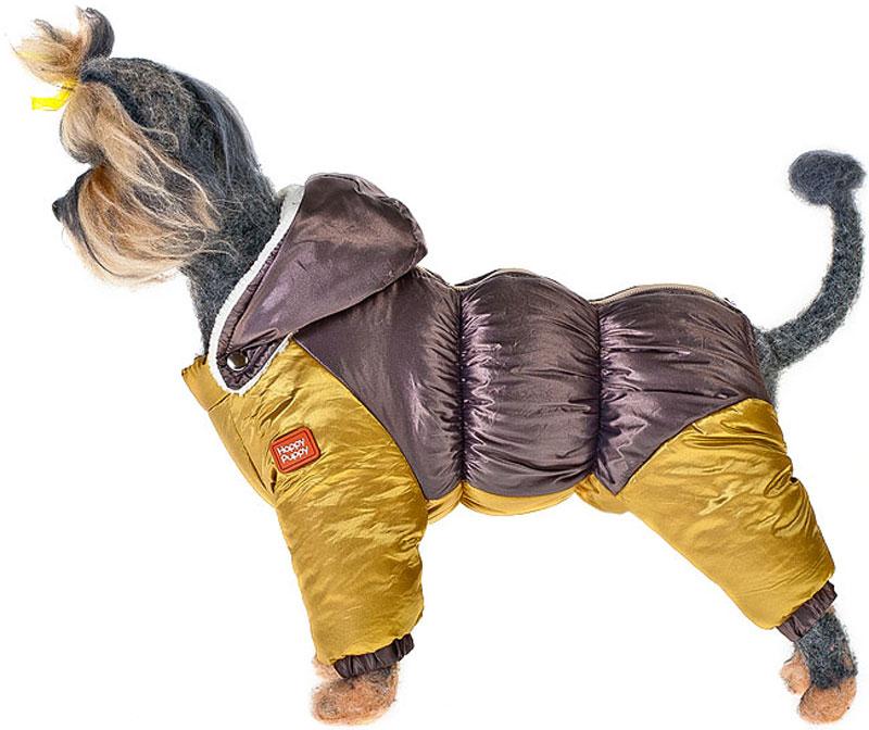 Пуховик для собак Happy Puppy, для девочки, цвет: бронзовый, золотой. Размер 2 (М)