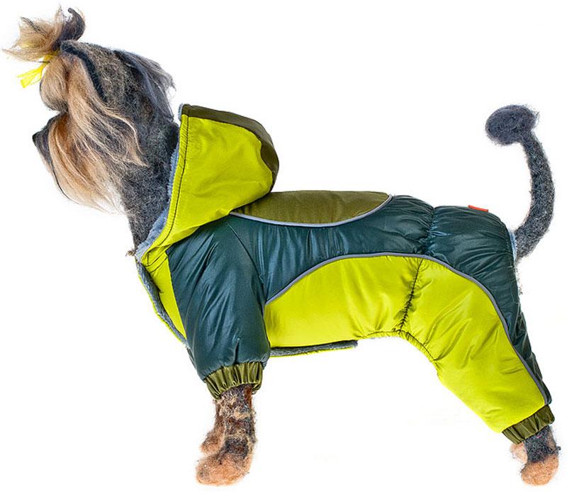 "Комбинезон для собак Happy Puppy ""Фристайл"", унисекс, цвет: зеленый, желтый. Размер 4 (XL)"